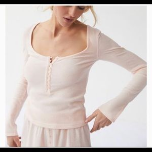 Urban Outfitters Remi Split-Sleeve Henley Top